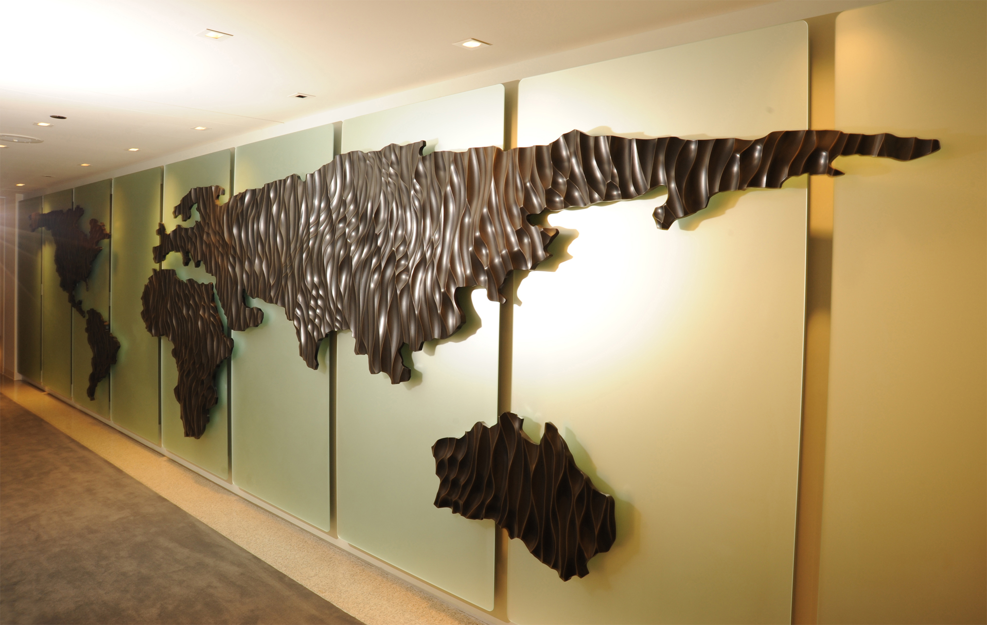corporate office lobby. Design Of Wall Sculpture And Corporate Logo For Equity International In Chicago. The 36 Foot Structure Sculpted Wood Etched Glass Was Designed, Office Lobby